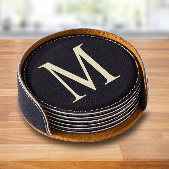 Personalized Black Round Coaster Set - SingleInitial - JDS