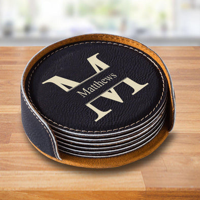 Personalized Black Round Coaster Set - Stamped - JDS
