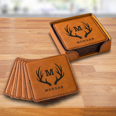 Personalized Rawhide Square Vegan Leather Coaster Set -  - JDS