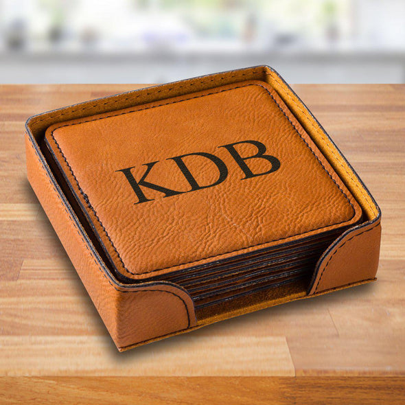 Personalized Rawhide Square Vegan Leather Coaster Set - Rawhide3Initials - JDS