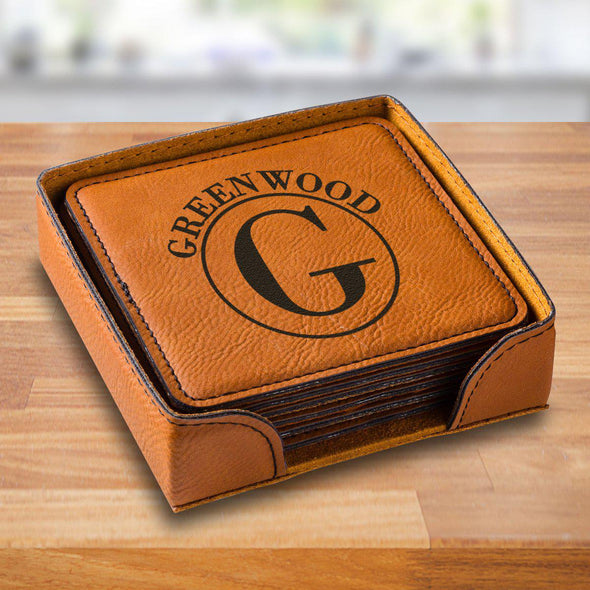 Personalized Rawhide Square Vegan Leather Coaster Set - RawhideCircle - JDS