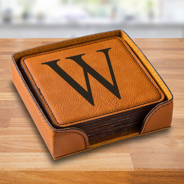 Personalized Rawhide Square Vegan Leather Coaster Set - RawhideSingleInitial - JDS