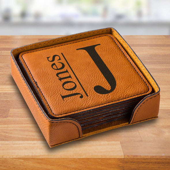 Personalized Rawhide Square Vegan Leather Coaster Set - RawhideModern - JDS