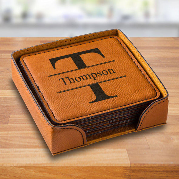 Personalized Rawhide Square Vegan Leather Coaster Set - RawhideStamped - JDS