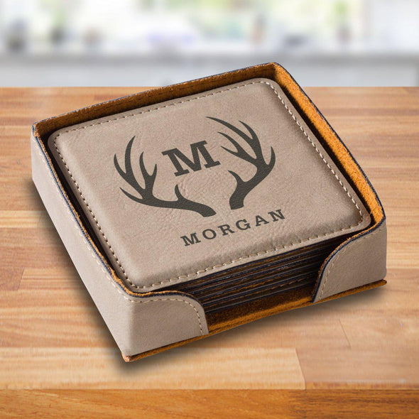 Personalized Tan Square Coaster Set - TanAntlers - JDS