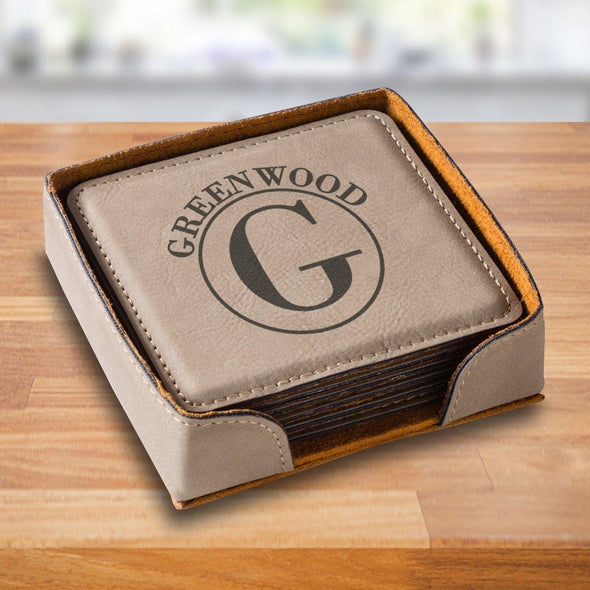 Personalized Tan Square Coaster Set - TanCircle - JDS