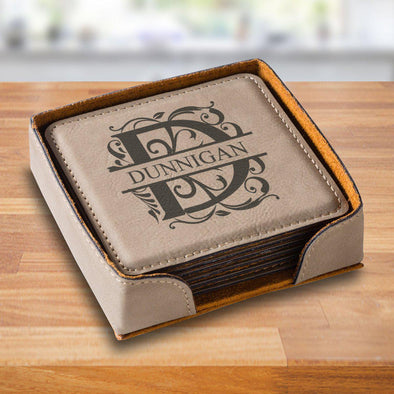 Personalized Tan Square Coaster Set - TanFiligree - JDS