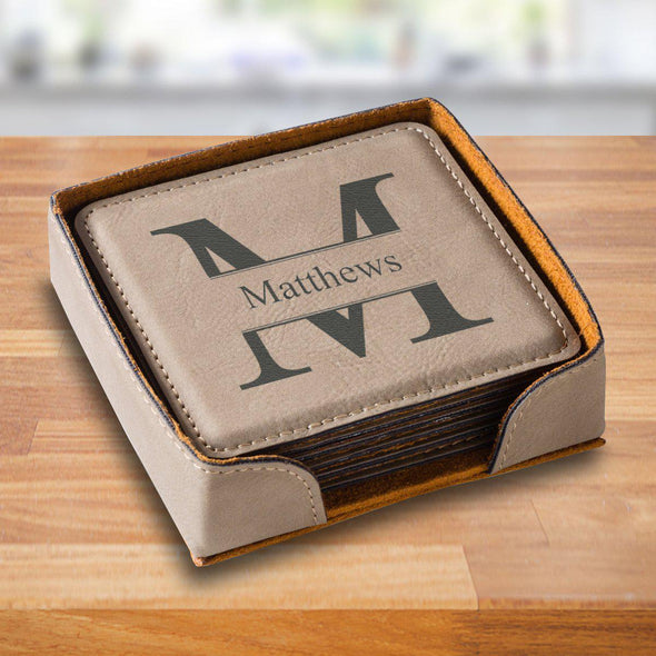 Personalized Tan Square Coaster Set - TanStamped - JDS