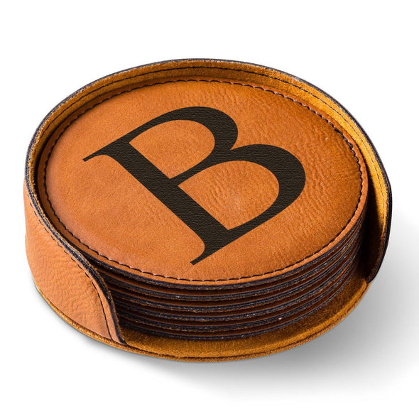 Personalized Round Leatherette Coaster Set - Available in Black, Dark Brown, Light Brown, and Rawhide - Rawhide - JDS