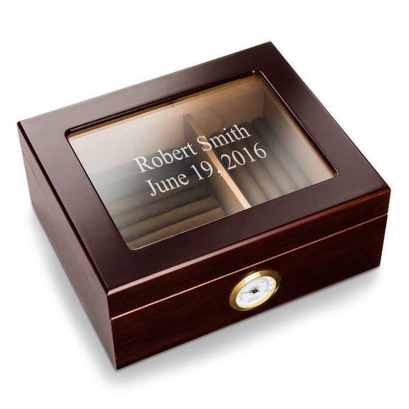 Personalized Mahogany Glass Top Humidor -  - JDS