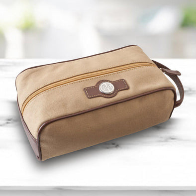 Personalized Leather & Canvas Toiletry Bag -  - JDS