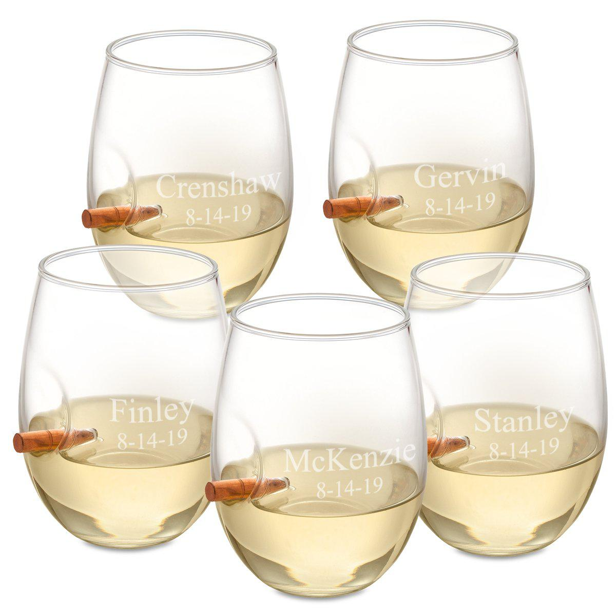 Personalized Set of 5 Bullet Wine Glasses Stemless