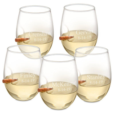 Personalized Set of 5 Bullet Wine Glasses Stemless - 2Lines - JDS
