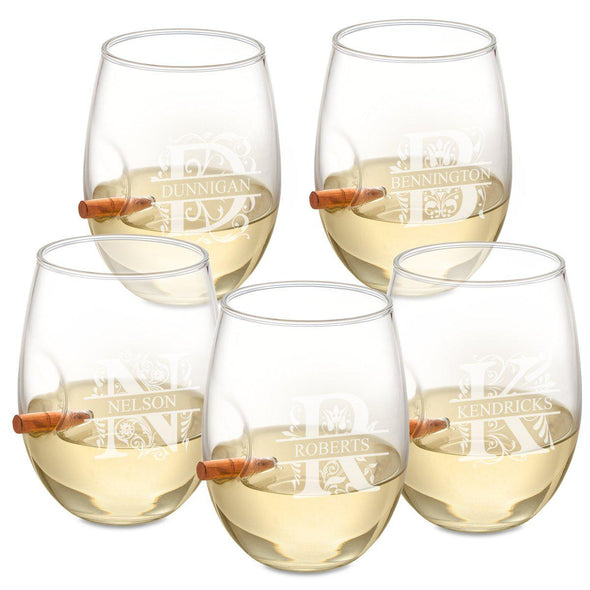 Personalized Set of 5 Bullet Wine Glasses Stemless - Filigree - JDS