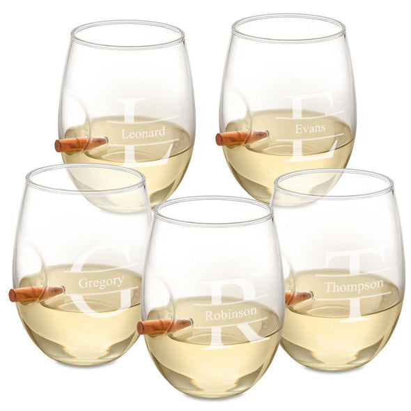Personalized Set of 5 Bullet Wine Glasses Stemless - Stamped - JDS
