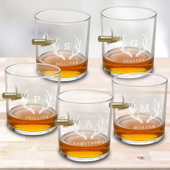 Personalized Set of 5 Bullet Whiskey Glasses - Antlers - JDS