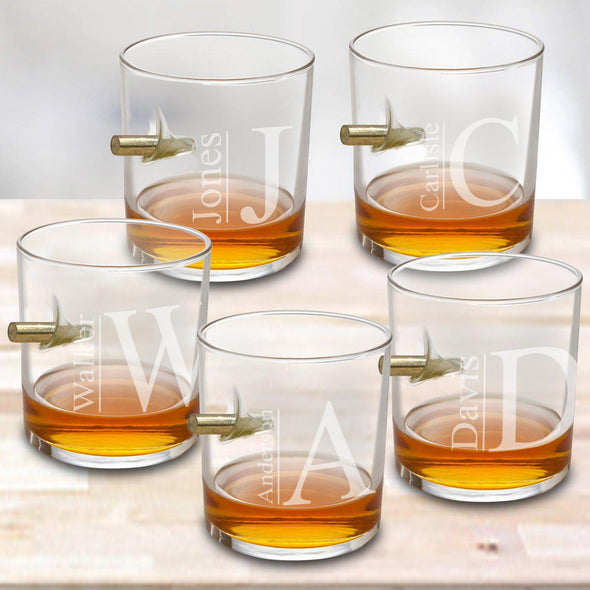 Personalized Set of 5 Bullet Whiskey Glasses - Modern - JDS