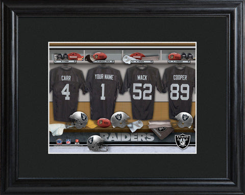 Personalized NFL Locker Sign w/Matted Frame - All Teams - Raiders - Professional Sports Gifts - AGiftPersonalized