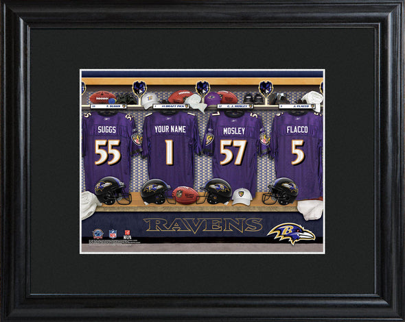 Personalized NFL Locker Sign w/Matted Frame - All Teams - Ravens - JDS