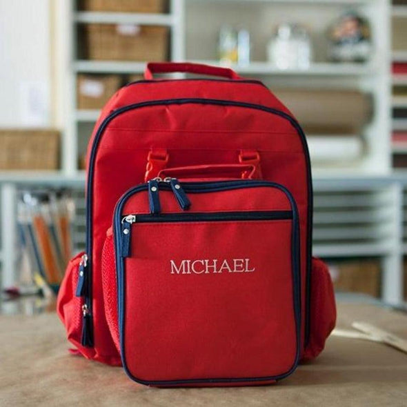 Personalized Lunch Bag and Backpack Combination - Red - Qualtry