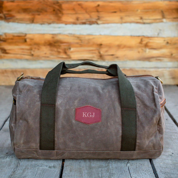 Personalized Waxed Canvas Field Tan Duffle Bag - Rose Gold - JDS