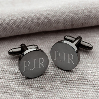 Personalized Round Gunmetal Cufflinks -  - JDS