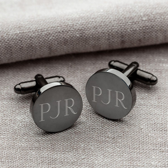 Personalized Gunmetal Cufflinks - Round -  - JDS