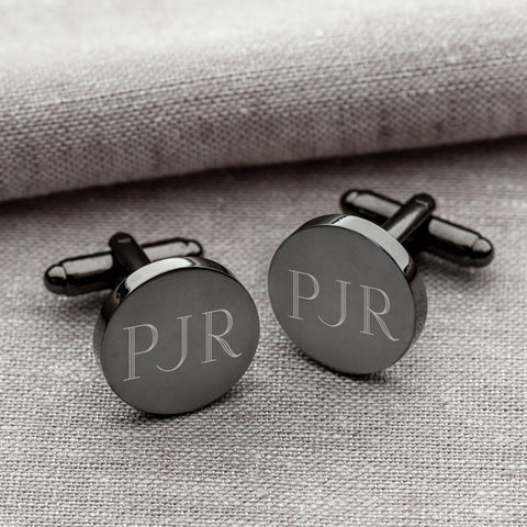 Personalized Cufflinks - Gunmetal - Round - Groomsmen Gifts -  - Cufflinks - AGiftPersonalized