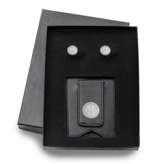 Personalized Black Leather Wallet & Monogrammed Cufflinks Gift Set -  - Money Clips - AGiftPersonalized