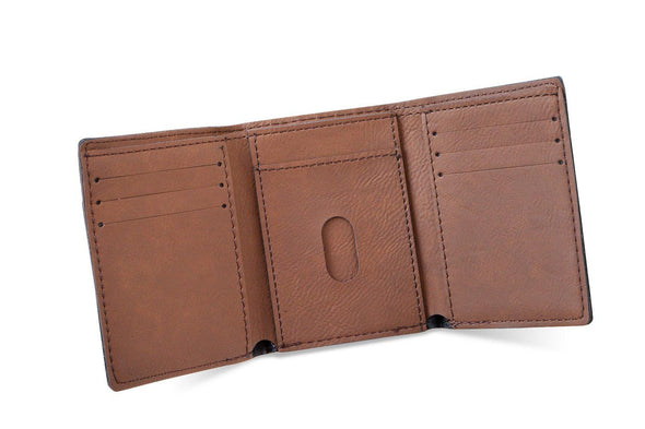 Men's Vegan Leather Trifold Personalized Wallet - Rustic -  - JDS