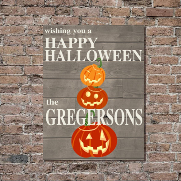 Personalized Halloween Stretched Canvas Wall Decor - RusticPumpkin - JDS