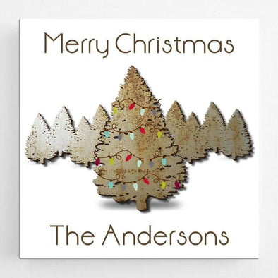 Personalized Christmas Spruce Canvas Sign -  - JDS