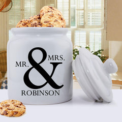Personalized Ceramic Cookie Jar - Mr & Mrs Design -