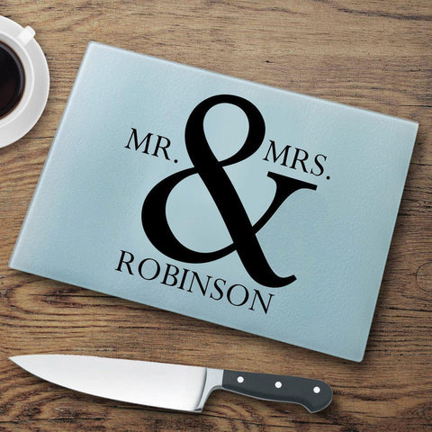 Personalized Glass Cutting Board - Mr&Mrs. - Home Decor - AGiftPersonalized