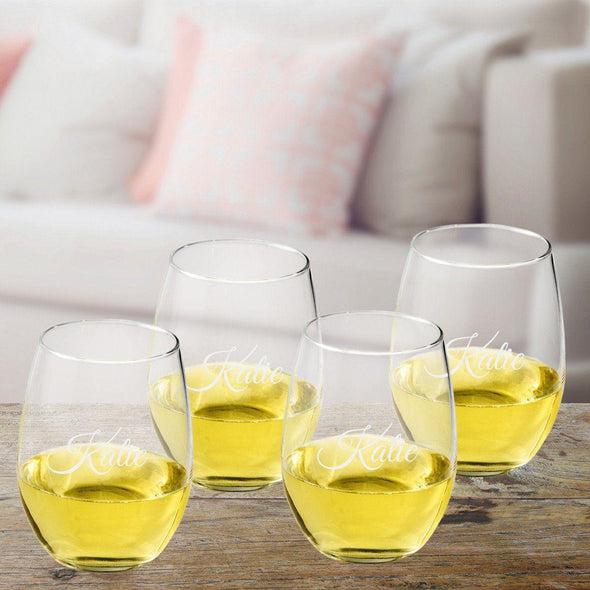 Personalized Stemless Wine Glass Set - Script - JDS