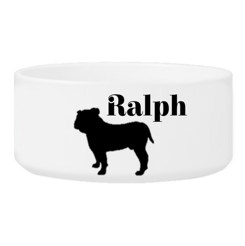 Personalized Man's Best Friend Silhouette Small Dog Bowl - Black - Pet Gifts - AGiftPersonalized