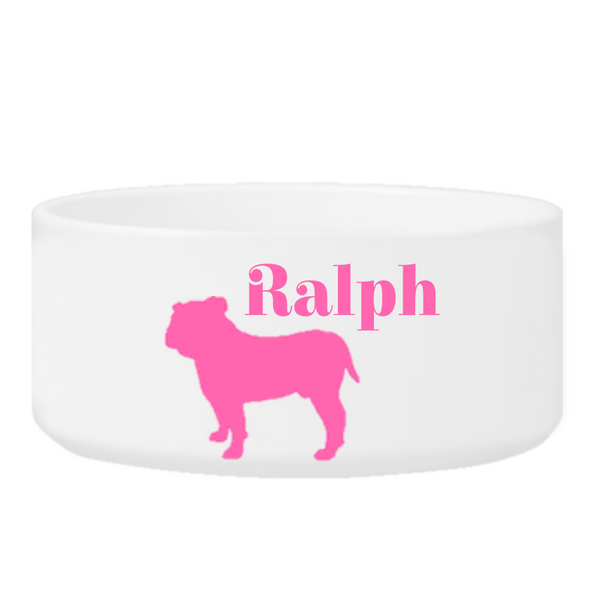 Personalized Man's Best Friend Silhouette Small Dog Bowl - Pink - JDS