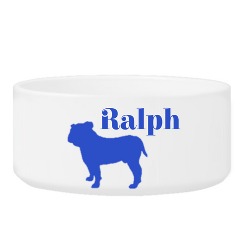 Personalized Man's Best Friend Silhouette Small Dog Bowl - Blue - Pet Gifts - AGiftPersonalized