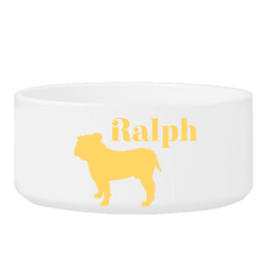 Personalized Man's Best Friend Silhouette Small Dog Bowl - GoldenYellow - Pet Gifts - AGiftPersonalized