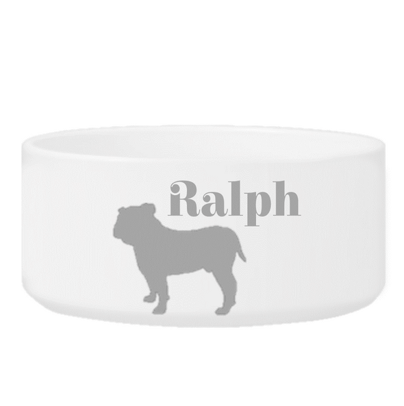 Personalized Man's Best Friend Silhouette Small Dog Bowl - Gray - JDS