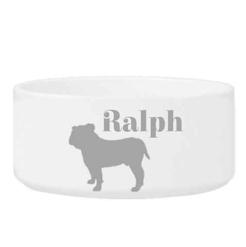 Personalized Man's Best Friend Silhouette Small Dog Bowl - Gray - Pet Gifts - AGiftPersonalized