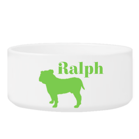 Personalized Man's Best Friend Silhouette Small Dog Bowl - Green - Pet Gifts - AGiftPersonalized