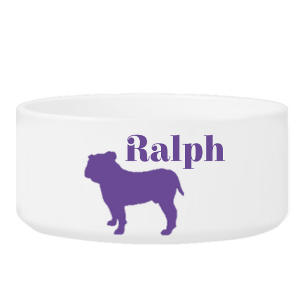 Personalized Man's Best Friend Silhouette Small Dog Bowl - Purple - JDS