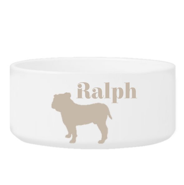 Personalized Man's Best Friend Silhouette Small Dog Bowl - Clay - JDS