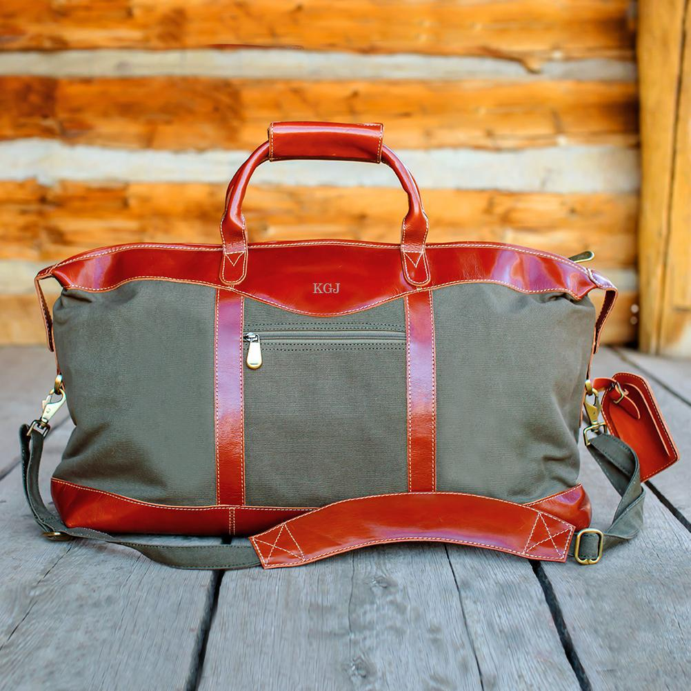 Personalized Forest Green Canvas and Leather Weekender Duffle Bag