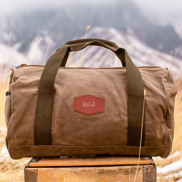 Personalized Waxed Canvas Field Tan Duffle Bag - Silver - JDS