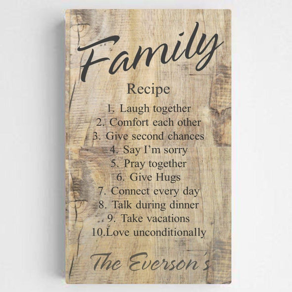 Personalized Family Recipe Canvas Sign - RusticWood - JDS