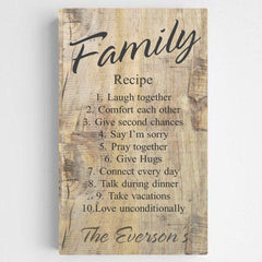 Personalized Family Recipe Canvas Sign - RusticWood - Canvas Prints - AGiftPersonalized
