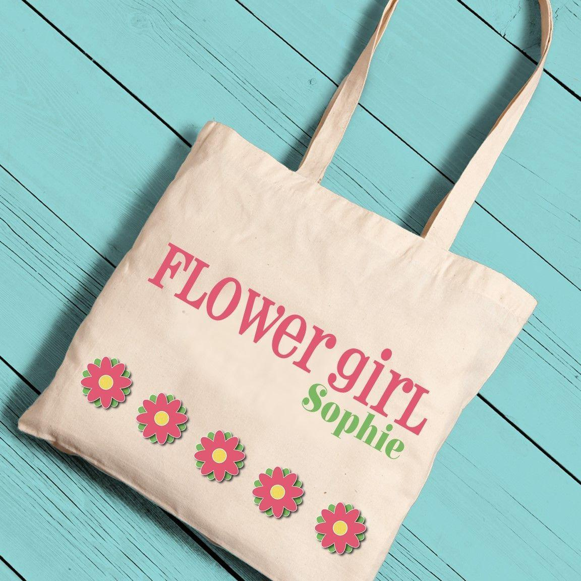 Personalized Flower Girl Canvas Tote