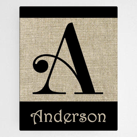 Personalized Family Initial Canvas Sign - Swirly - Canvas Prints - AGiftPersonalized